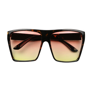 KIM Oversized Gradient Color Tinted Lens Trapezoid Sunglasses - ShadyVEU
