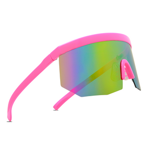JEFFERY Oversized Flat Top Lightweight Mirrored Sports Sunglasses