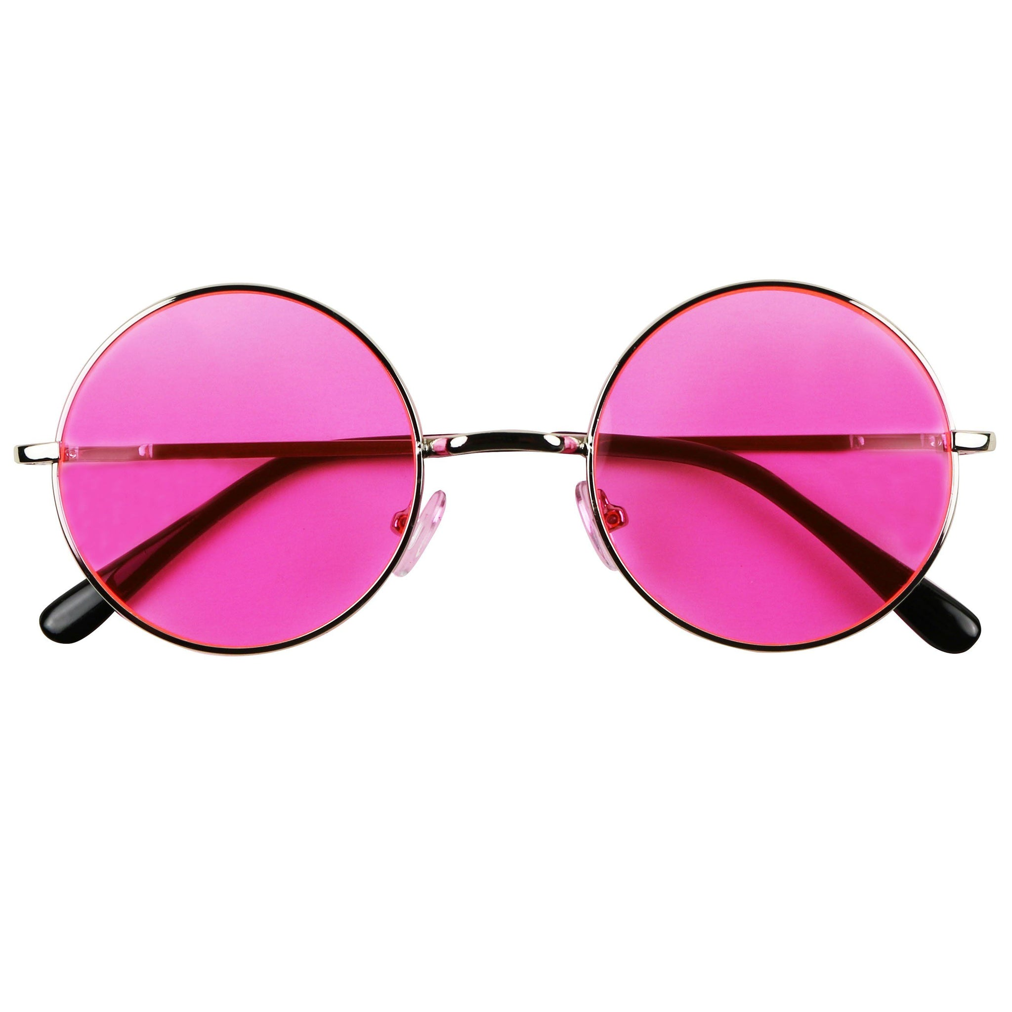 LENY Round Small Colorful Tinted Lens Lennon Inspired Sunglasses - ShadyVEU