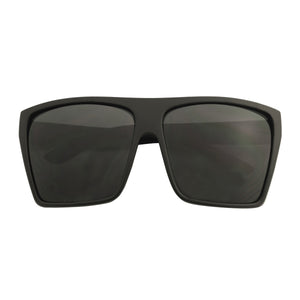 JERI Oversized Super Dark Lens Square Trapezoid Shape Flat Top Kim K Fashion Sunglasses - ShadyVEU