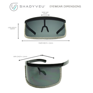 JULES Oversized Dark Rhinestone Outline Visor Sunglasses - ShadyVEU