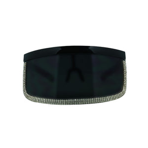 JULES Oversized Dark Rhinestone Outline Visor Sunglasses
