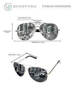 TOM Oversized Pilot Style Super Reflective Silver Lens Sunglasses - ShadyVEU