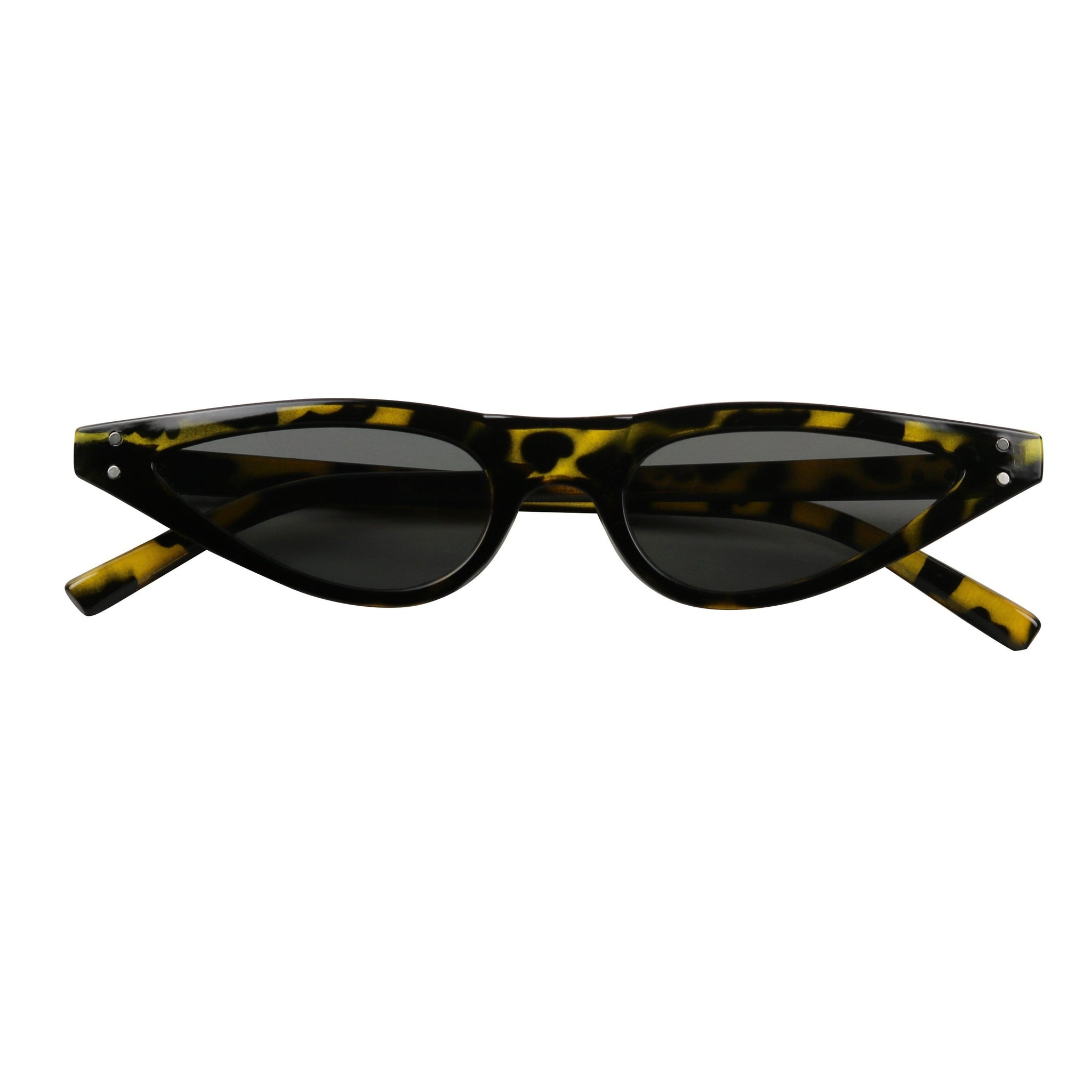 RICHIE Retro Funk Flat Top Hot Tip Pointed Cat Eye Sunglasses - ShadyVEU
