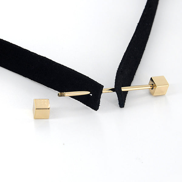 Velvet Gold Bar Choker