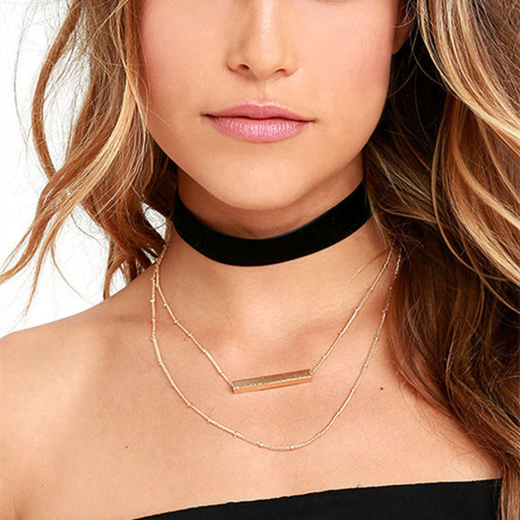 Black Velvet Multilayer Chain Choker
