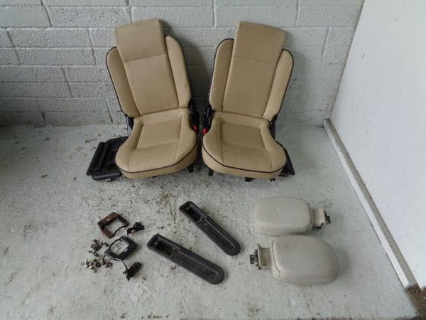 Discovery 2 Dickie Seats Pair 3rd Row Beige Leather Land Rover 98 to 04 B1 XXX