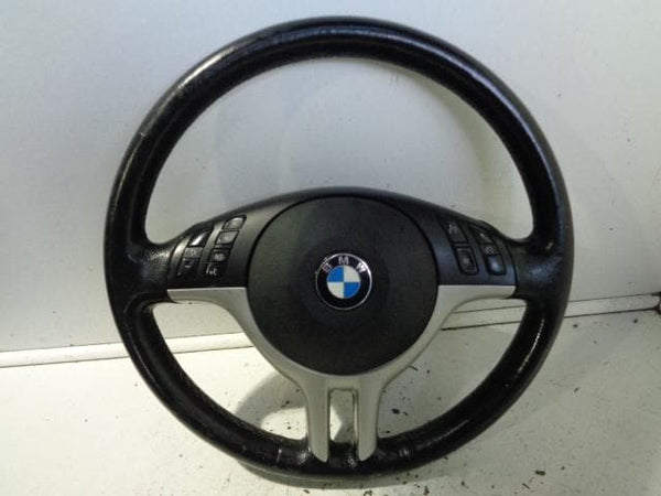 01- 04 BMW X5 E53 LEATHER STEERING WHEEL WITH SILVER MULTI FUNCTION CRUISE #1001
