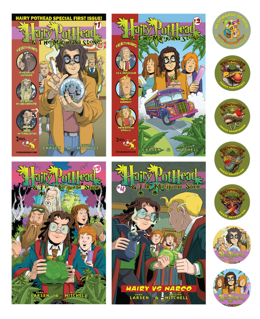 All 5 Hairy Pothead Comics and 7 stickers!