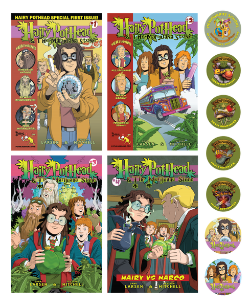 All 4 Hairy Pothead Comics and 7 stickers!