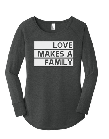 Love Makes a Family Raglan - Plain Font (Multiple Colors)