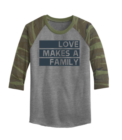 Love Makes A Family Raglan Plain Font Multiple Colors Oldlutheran