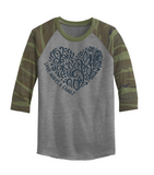 Love Makes a Family Raglan - Heart Design (Multiple Colors)