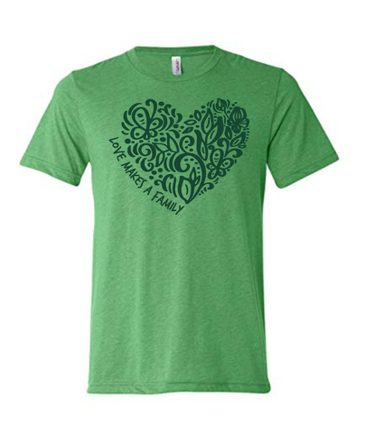 Love Makes a Family Youth T-Shirt - Heart Design (Multiple Colors)