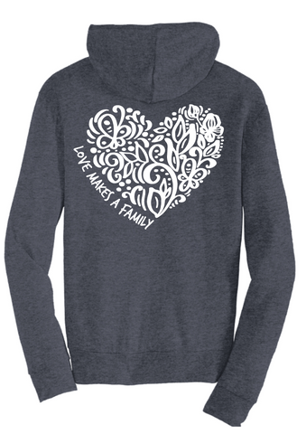 Love Makes a Family Full-Zip Hooded Sweatshirt - Heart Design (Adult and Youth Sizes)