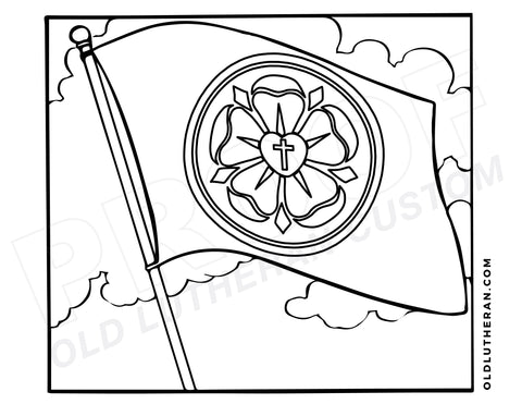 Luther Rose Flag Coloring Sheet - Digital Download