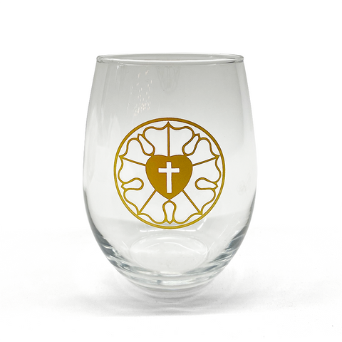 Gold Luther Rose Stemless Wine Glass