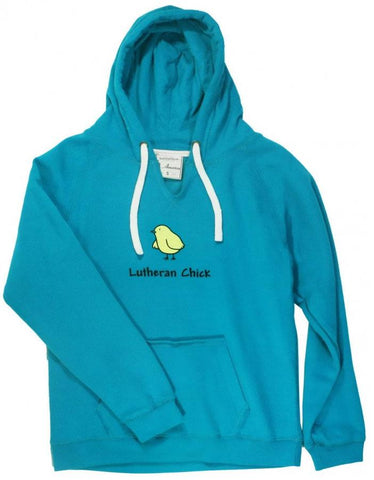 Lutheran Chick V-Neck Hooded Sweatshirt (Multiple Colors)