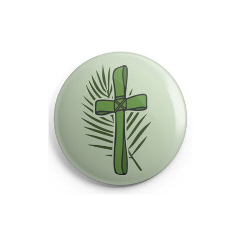 Palm Branch Cross Button - 1 Inch