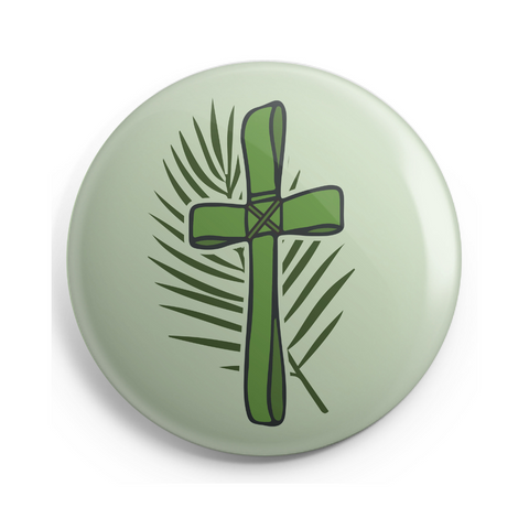 Palm Branch Cross Button - 2.25 Inches