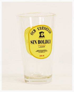 Sin Boldly Lager 16 oz Beer Glass