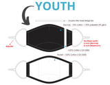Youth Face Mask Spec Sheet. Choose Kind Striped Face mask.