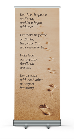 Let There Be Peace Banner - Footprints