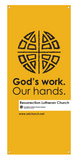 God's Work. Our Hands. Vertical Banner