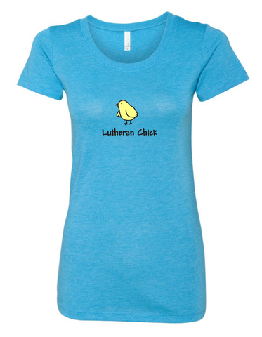 Lutheran Chick Poly/Cotton Ladies T-shirt