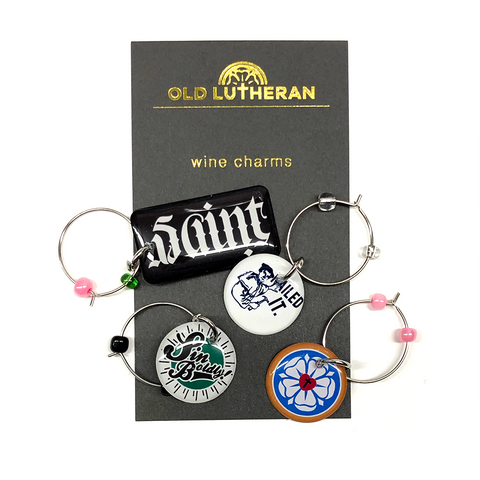 Wine Charms - Saint/Sinner, Nailed It, Sin Boldly, and Luther Rose