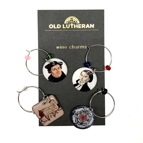 Wine Charms - Martin Luther, Katie Luther, Luther Rose Mosaic, and Church