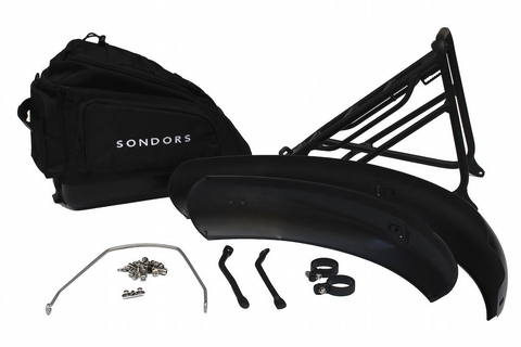 Accessories: SONDORS Smart Step Fenders, Rack + Bag Kit