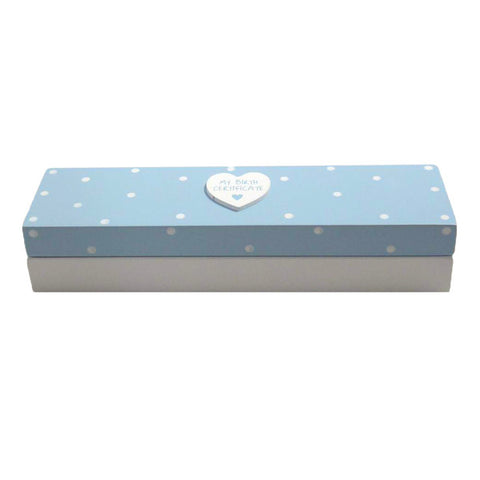 Blue Birth Certificate Box