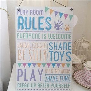 Play Room Rules Metal plaque