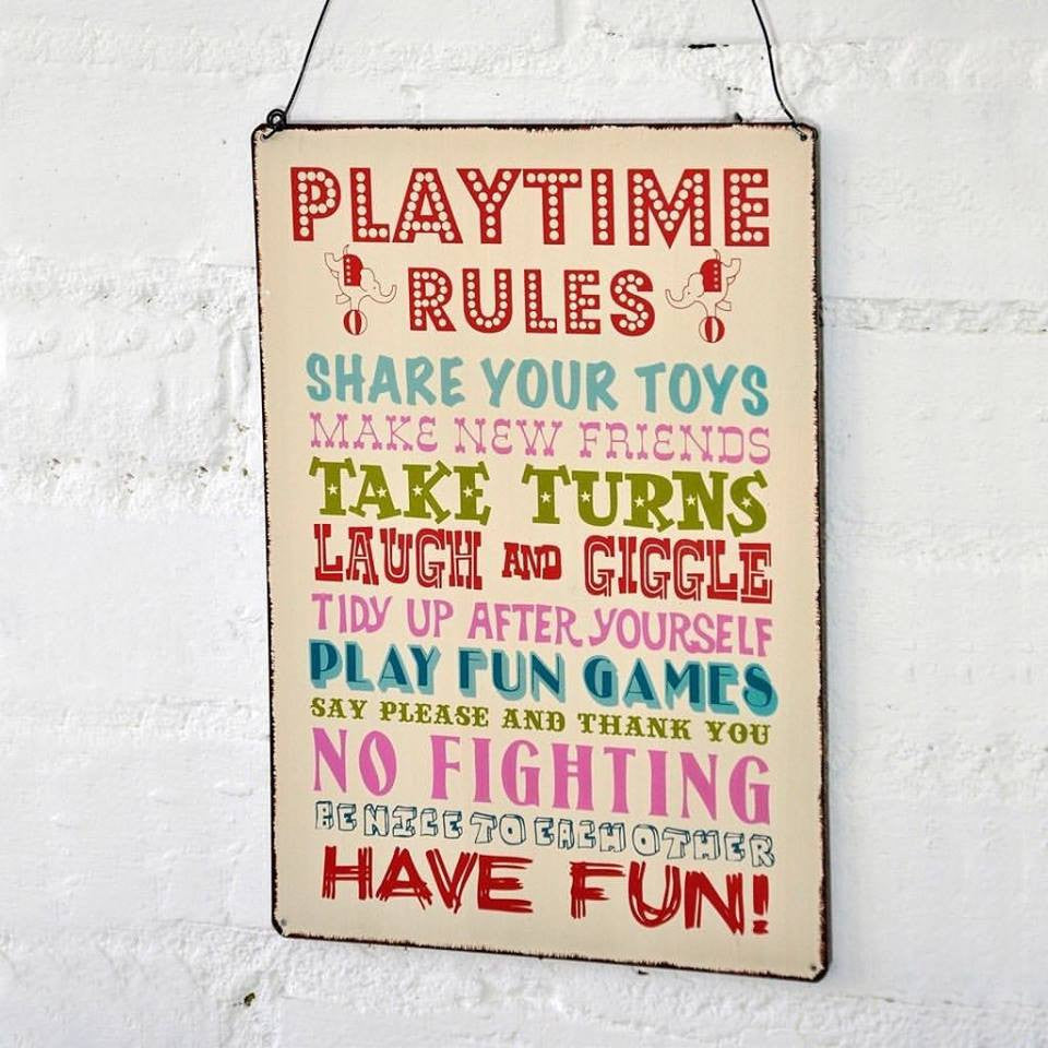 Playtime Rules Metal Hanging Plaque