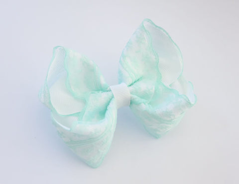 White & Mint Vintage Lace Bow