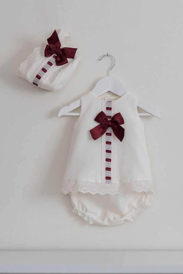 Dolce Petit Cream & Burgundy Pique Dress