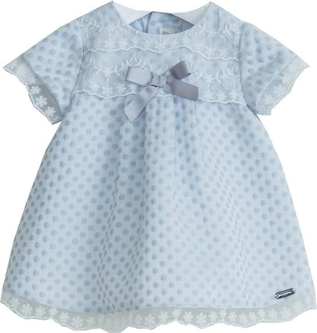 Dolce Petit Baby Girls Grey Polka Dot Dress