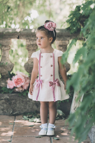 Dolce Petit Cream & Dusty Pink Fishtail Dress 2201-v