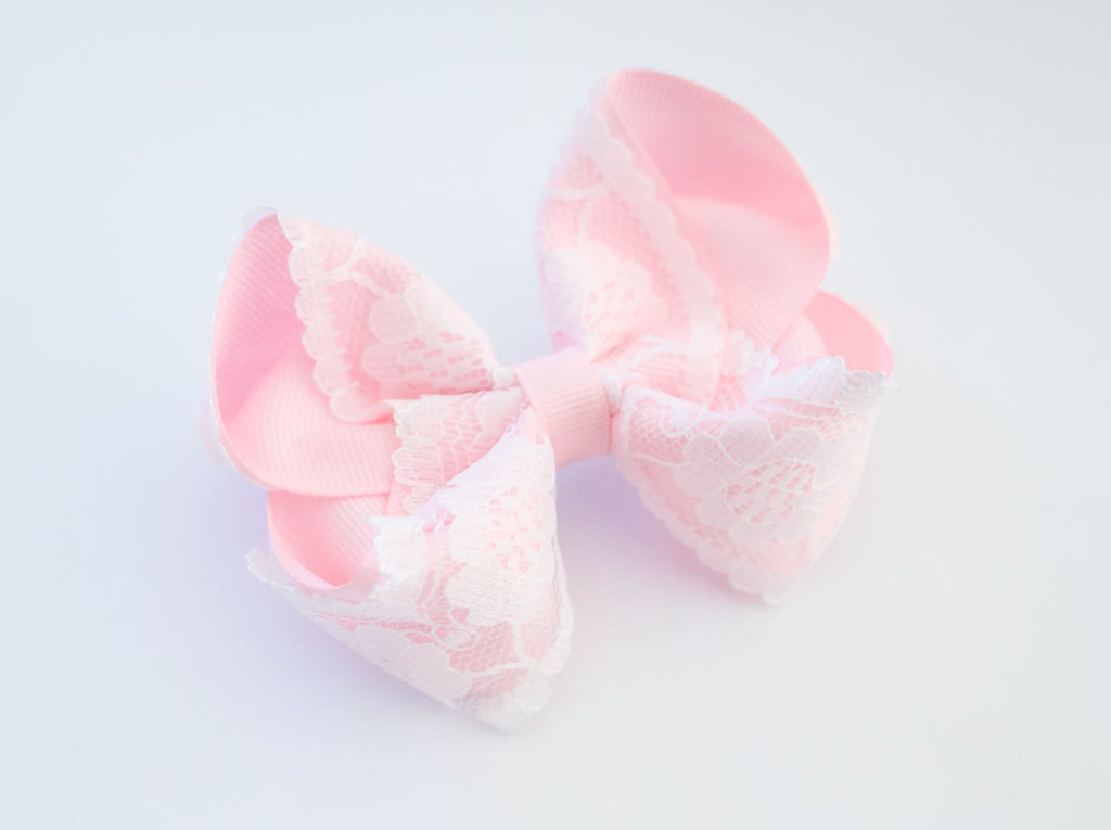 Baby Pink Vintage Lace Bow