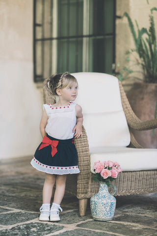 Dolce Petit Navy, White & Red Bow Skirt Set 2244-23