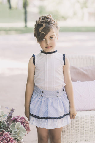 Dolce Petit Blue & White Polka Dot Skirt Set 2256/23