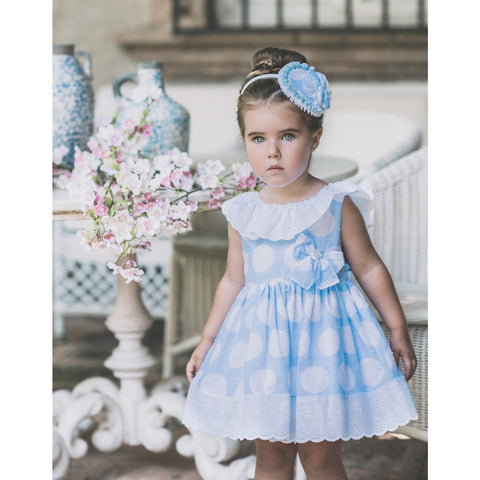 Dolce Petit Blue & White Spot Puffball Dress 2228-V