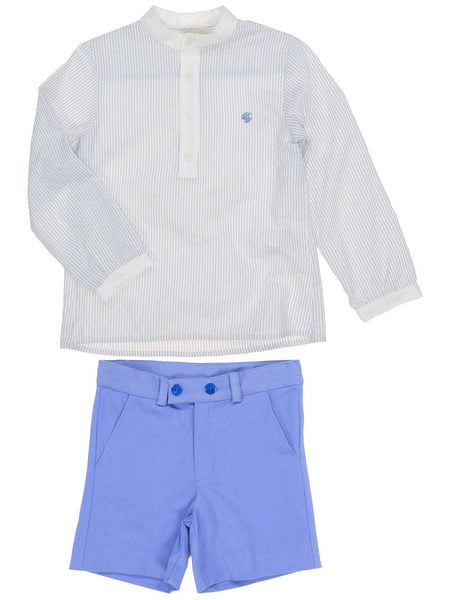 Dolce Petit Royal Blue Stripe Shirt & Short Set