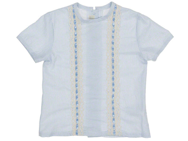 Dolce Petit Boys Baby Blue Shirt & Beige Short Set