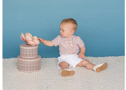Dolce Petit Boys Beige Stripe Shirt & Short Set