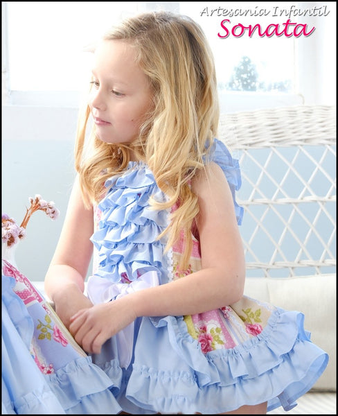Blue Floral Ruffle Drop Waist Dress