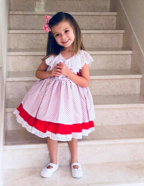 Dulce Bebe Red & White Polka Dot Spanish Dress