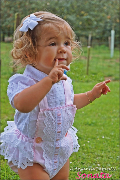 Pink Pique and Lace Ruffle Romper and Blouse