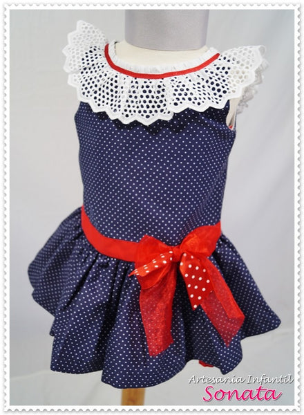 Sonata Navy Dress with Pola Dots and Frill Collar